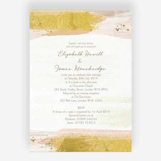 Blush & Gold Brush Strokes Wedding Invitation