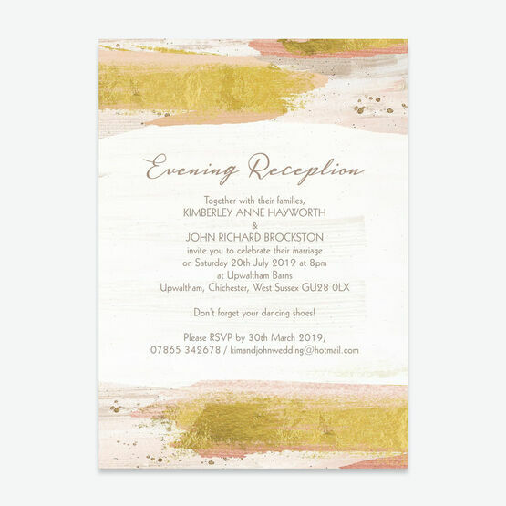 Blush & Gold Brush Strokes Evening Reception Invitation