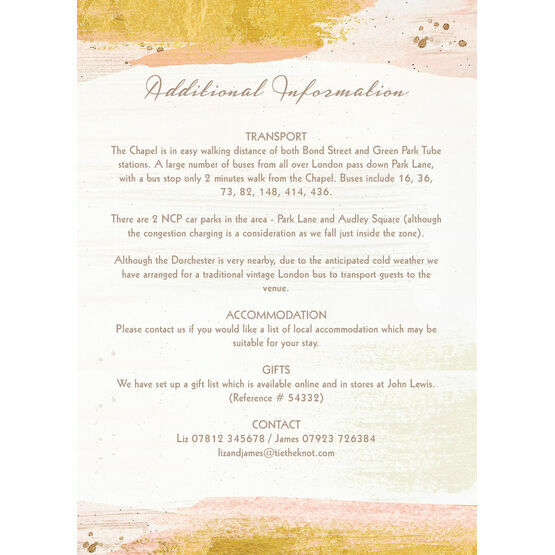 Blush & Gold Brush Strokes Guest Information Card