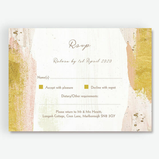 Blush & Gold Brush Strokes RSVP