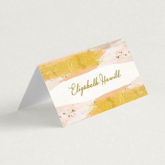 Blush & Gold Brush Strokes Folded Wedding Place Cards
