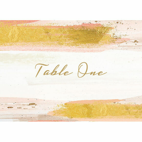Blush & Gold Brush Strokes Table Name