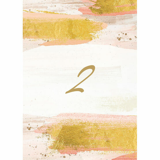 Blush & Gold Brush Strokes Table Number