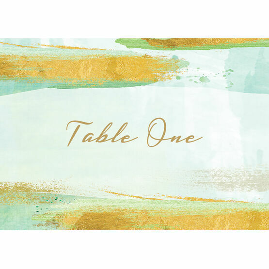 Mint Green & Gold Brush Strokes Table Name