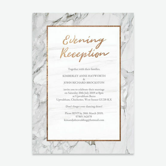 Marble & Copper Evening Reception Invitation From £0.85 Each