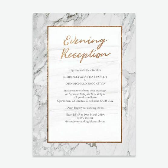 Marble & Copper Evening Reception Invitation