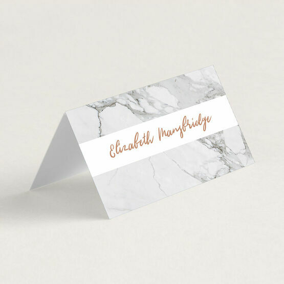 Marble & Copper Folded Wedding Place Cards
