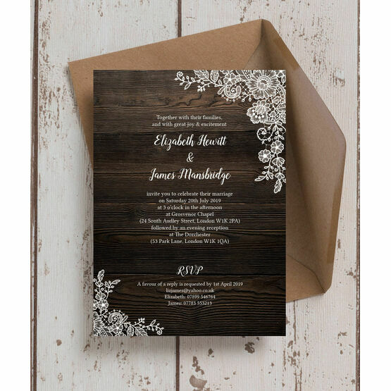 Rustic Wood & Lace Wedding Invitation