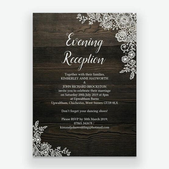 Rustic Wood Lace Evening Reception Invitation