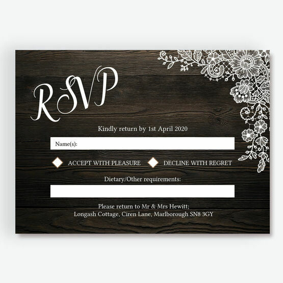 Rustic Wood & Lace RSVP