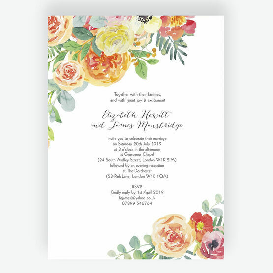 Coral & Blush Flowers Wedding Invitation