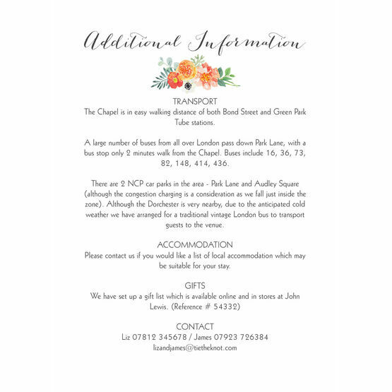 Coral & Blush Flowers Guest Information Card