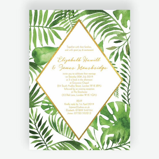 Tropical Leaves Wedding Invitation