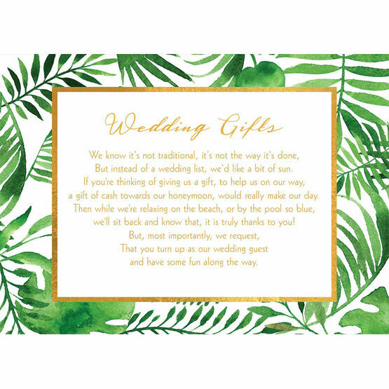 Tropical Leaves Gift Wish Card