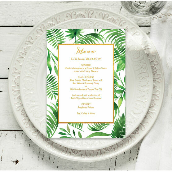 Tropical Leaves Menu