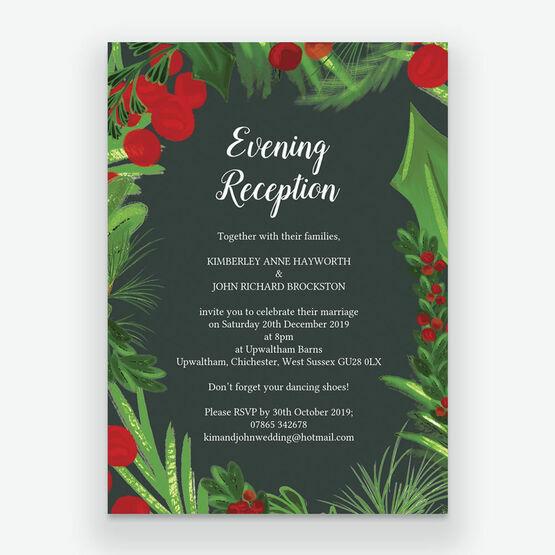 Winter Berries Evening Reception Invitation