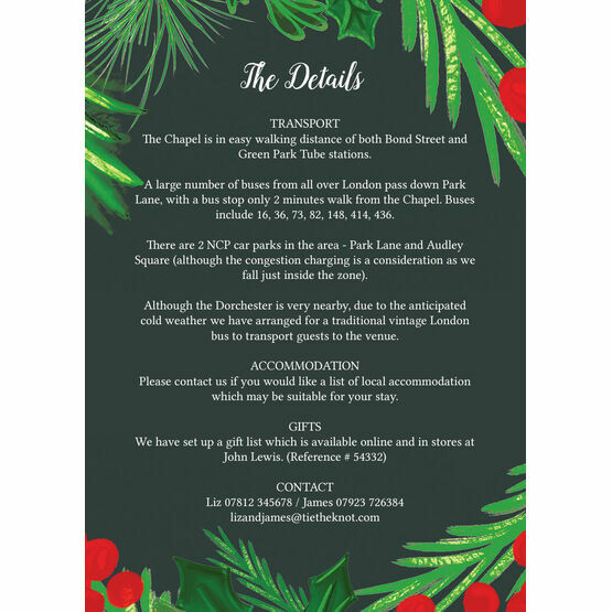 Winter Berries Guest Information Card