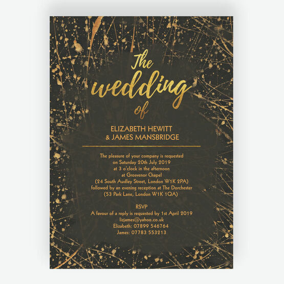 Black & Gold Abstract Wedding Invitation