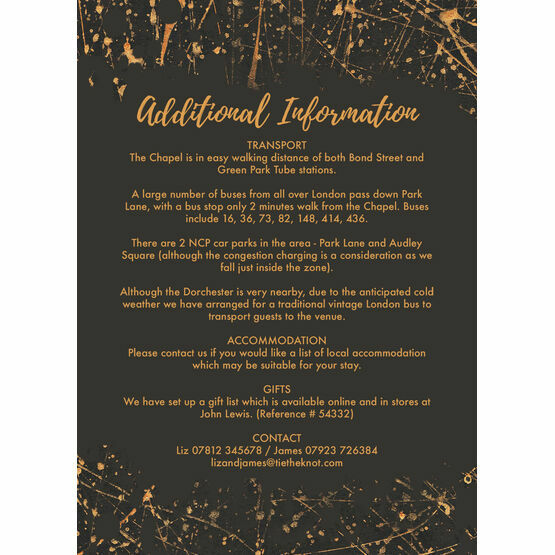 Black & Gold Abstract Guest Information Card