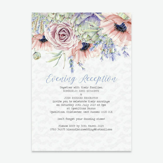 Wedding Ideas For Evening Reception: Country Flowers Evening Reception Invitation From £0.85 Each