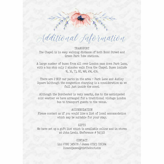 Country Flowers Guest Information Card