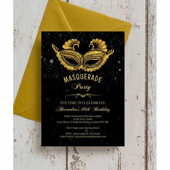 Masquerade Themed 40th Birthday Party Invitation