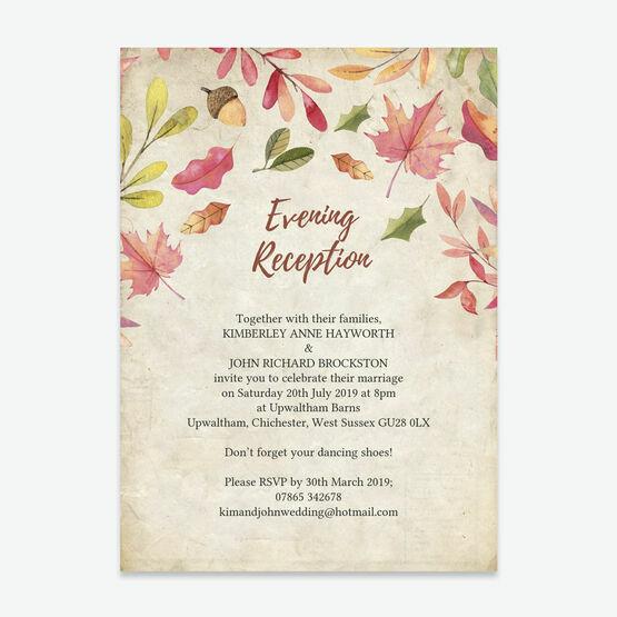 Autumn Leaves Evening Reception Invitation