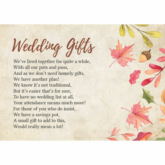 Gift Poems For Weddings: Autumn Leaves Gift Wish Card From £0.40 Each