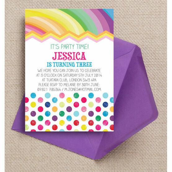 Rainbow Fiesta Party Invitation