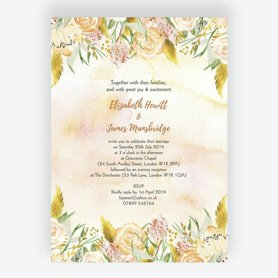 Gold Floral Wedding Invitation