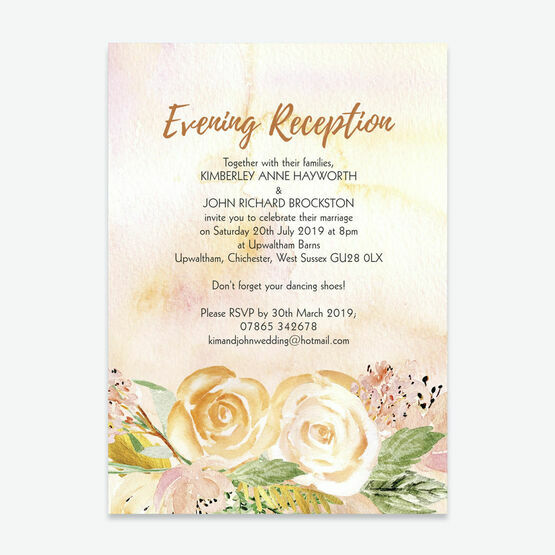 Gold Floral Evening Reception Invitation