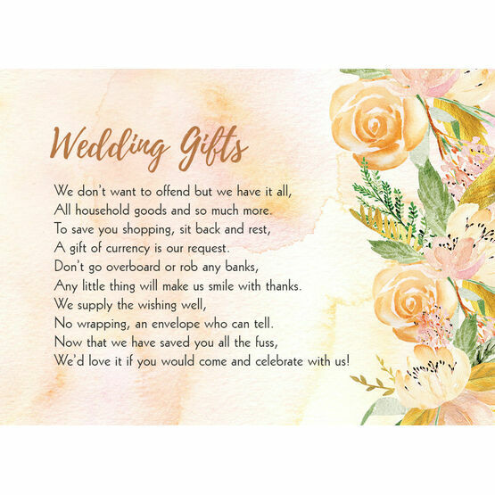Gold Floral Gift Wish Card