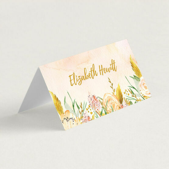 Gold Floral Folded Wedding Place Cards