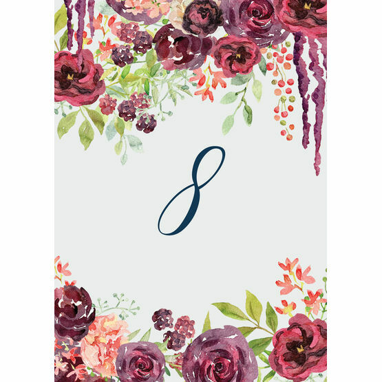 Burgundy Watercolour Floral Table Number
