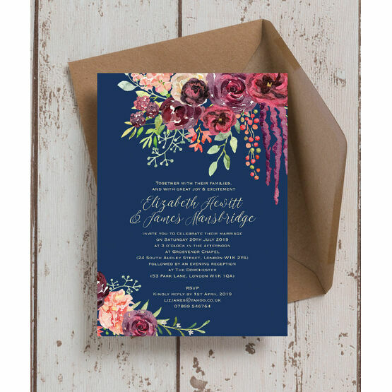 Navy & Burgundy Floral Wedding Invitation