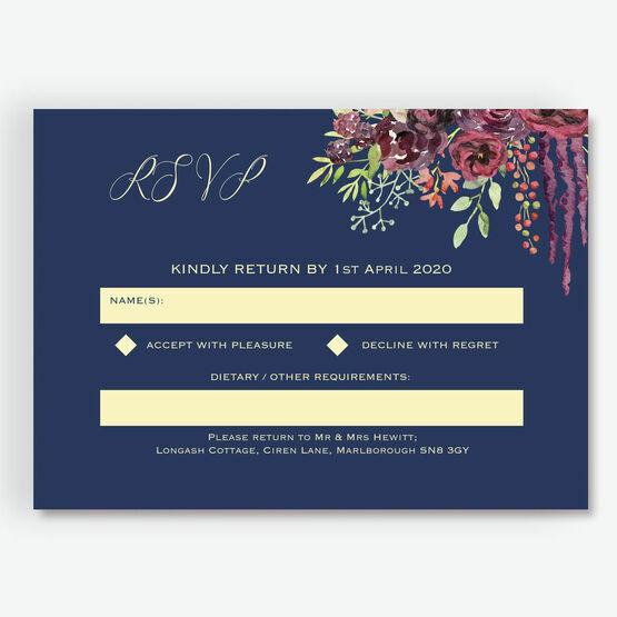 Navy & Burgundy Floral RSVP