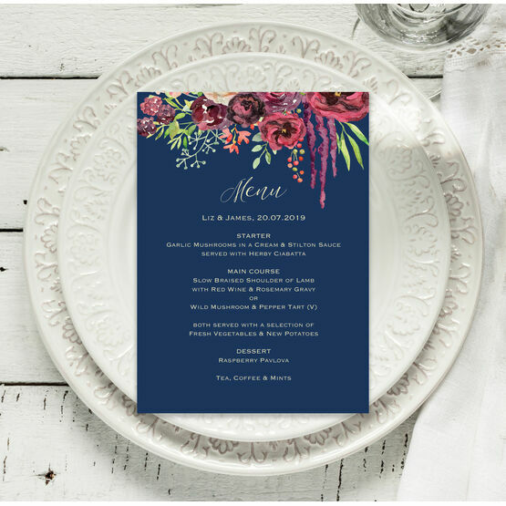 Navy & Burgundy Floral Menu