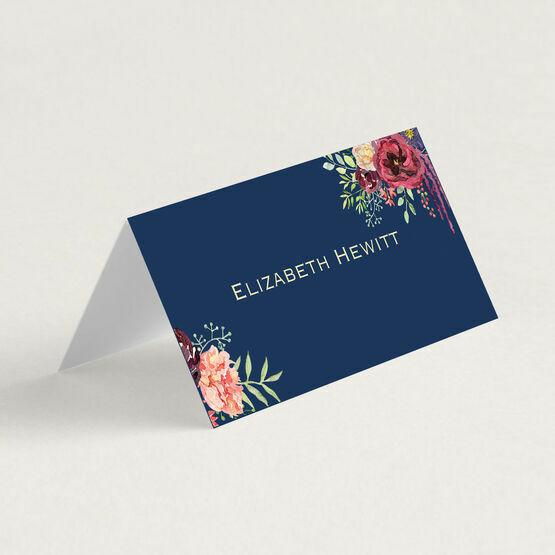 Navy & Burgundy Floral Folded Wedding Place Cards
