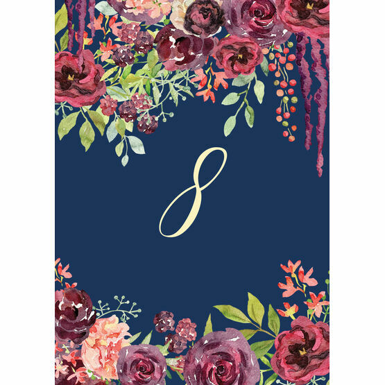 Navy & Burgundy Floral Table Number