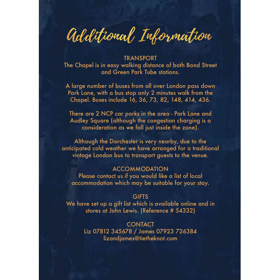 Navy & Gold Guest Information Card