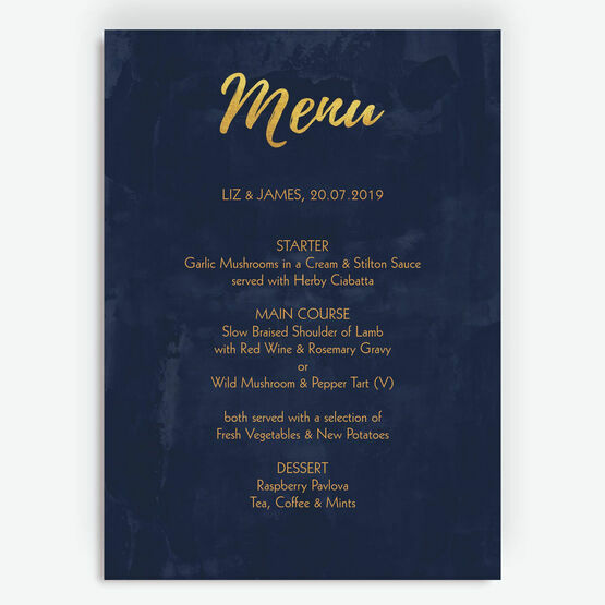 Navy & Gold Menu