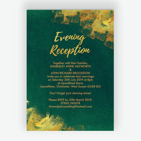 Emerald & Gold Evening Reception Invitation