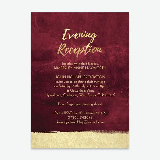 Burgundy & Gold Evening Reception Invitation