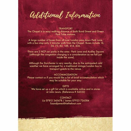 Burgundy & Gold Guest Information Card