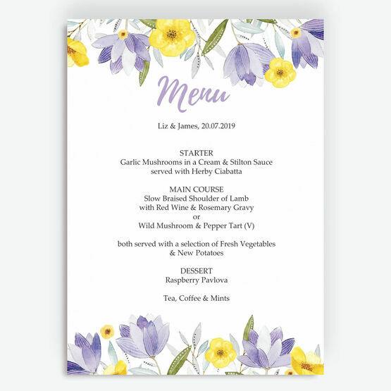 Lilac & Lemon Menu