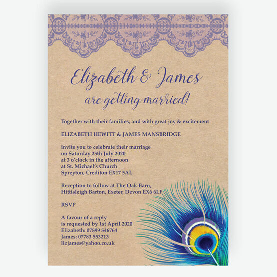 Rustic Peacock Wedding Invitation