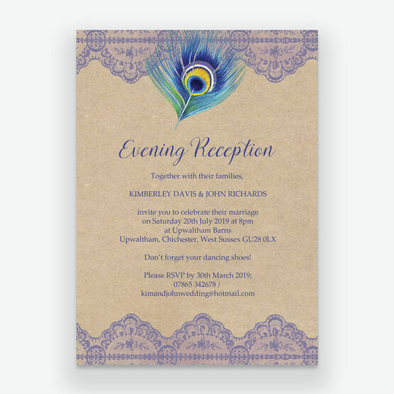 Rustic Peacock Evening Reception Invitation From 085 Each