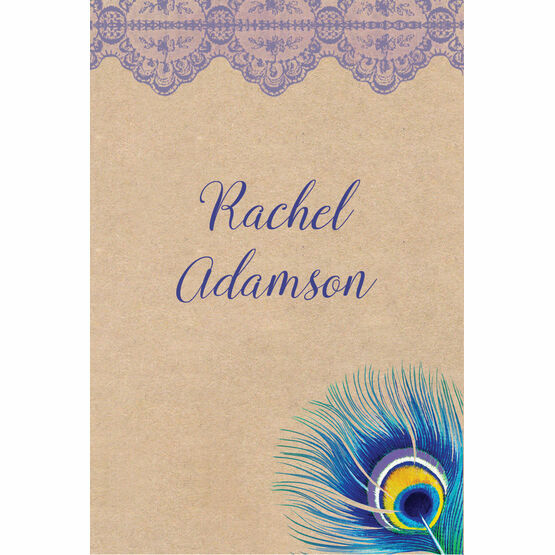 Rustic Peacock Place Cards - Set of 9