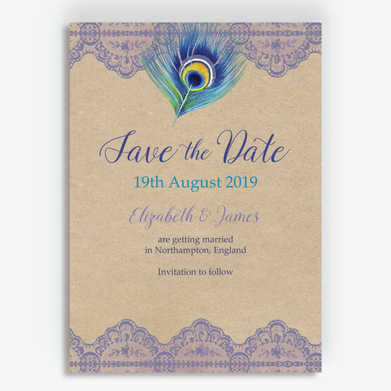 Rustic Peacock Save the Date