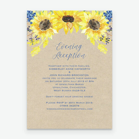 Wedding Ideas For Evening Reception: Rustic Sunflower Evening Reception Invitation From £0.85 Each
